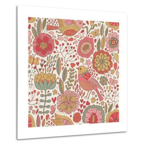 Vintage Floral Romantic Pattern-smilewithjul-Metal Print