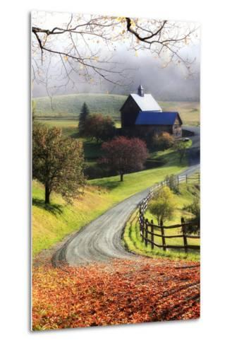 A Farm on a Winding Rural Road on a Foggy Autumn Morning-Robbie George-Metal Print