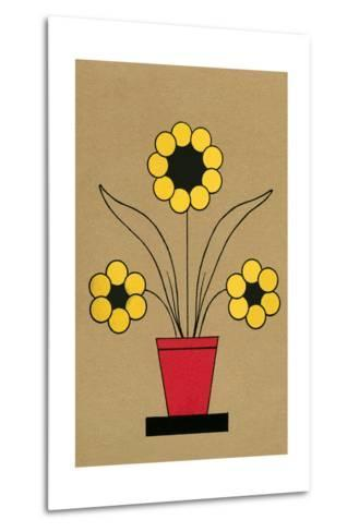 Geometric Flower in Pot--Metal Print