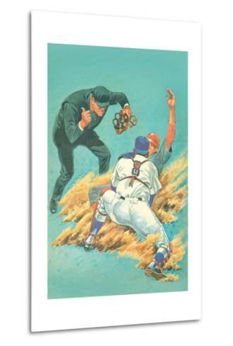 Out at Home Plate--Metal Print