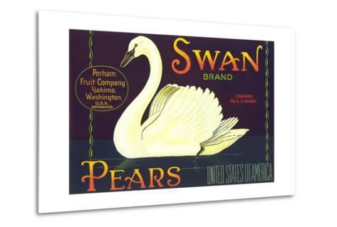 Swan Pear Label--Metal Print