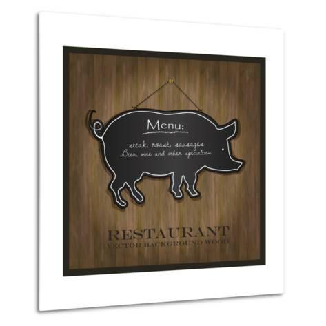 Blackboard Pig Restaurant Menu Card-Mondih-Metal Print