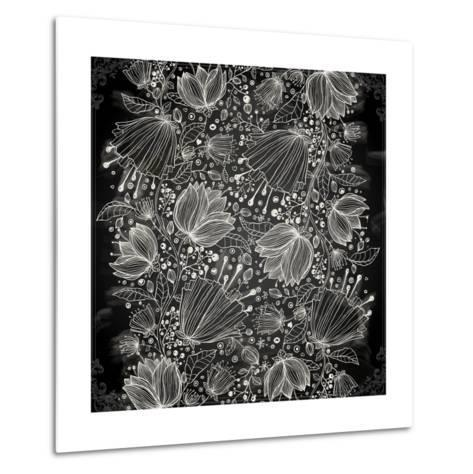 Stylish Floral Background, Hand Drawn Retro Flowers-Ozerina Anna-Metal Print
