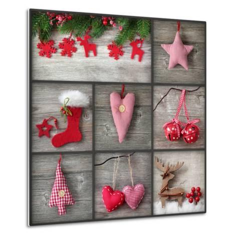 Collage of Christmas Photos over Grey Wood Background-egal-Metal Print
