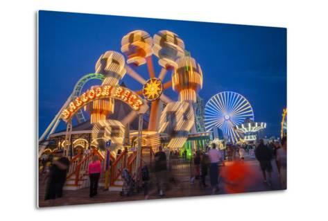The Wildwood Beach Steel Pier's Ferris Wheel at Twilight with Blurred Motion-Richard Nowitz-Metal Print
