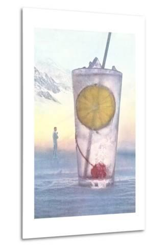 Cool Drink with Cherry and Lemon--Metal Print