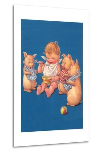 Baby with Pigs Eating Cereal--Metal Print