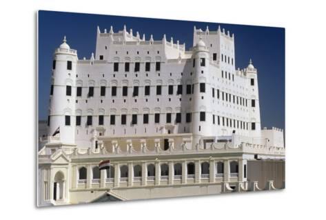 Yemen, Seiyun, Hadhramaut Region, Sultan Al Kathiri Palace Exterior--Metal Print