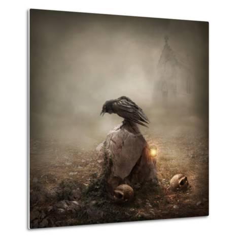 Crow Sitting on a Gravestone-egal-Metal Print