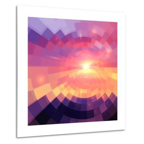 Magic Sunset in Abstract Stained Glass-art_of_sun-Metal Print