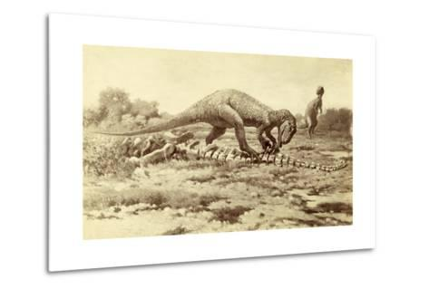 Painting of Two Tyrannosaurs Rex; One Eats Brontosaurus Remains-Charles R. Knight-Metal Print