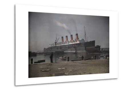 "A View of the Cunard S.S. ""Mauretania"" at Dock-Clifton R^ Adams-Metal Print"