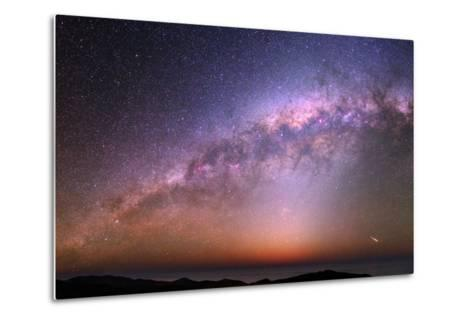 The Bulge of the Milky Way, Blue Zodiacal Light, and a Satellite Flare over the Atacama and Pacific-Babak Tafreshi-Metal Print