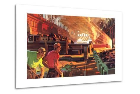 Workers in Steel Mill--Metal Print