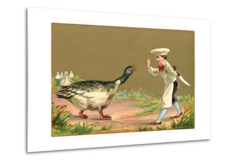 Little Chef Luring Goose--Metal Print