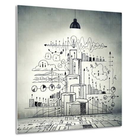 Drawn Business Plan on Wall Illuminated by Lamp-Sergey Nivens-Metal Print