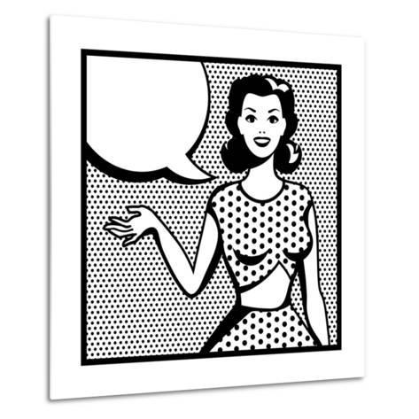 Illustration of Retro Girl in Pop Art Style-incomible-Metal Print