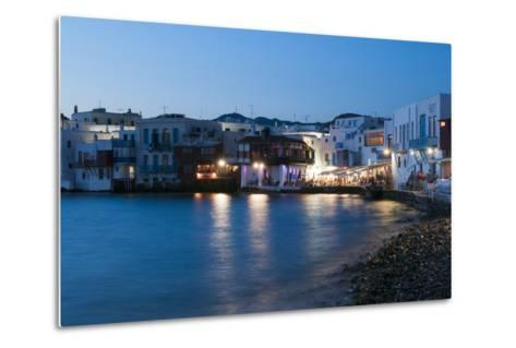 A Night View of the Little Venice Neighborhood on the Coast of the Aegean Sea-Sergio Pitamitz-Metal Print