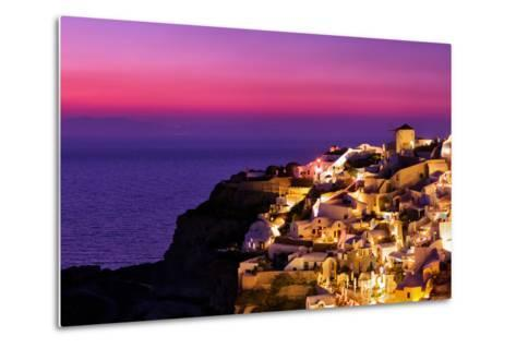 Dusk over the Aegean Sea and a White-Washed, Cliff-Top Town on Santorini Island-Babak Tafreshi-Metal Print