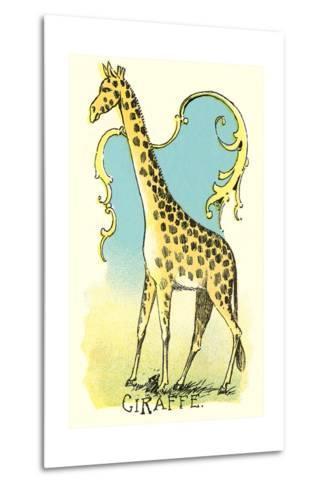 Giraffe Drawing--Metal Print