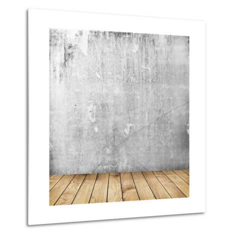 Empty Interior of Vintage Room with Grey Grunge Stone Wall and Old Wooden Floor-Olegkalina-Metal Print