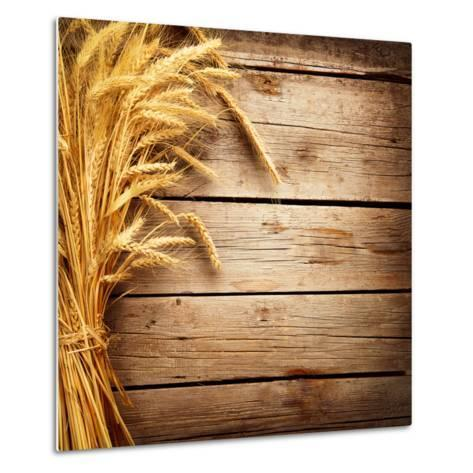 Wheat Ears on the Wooden Table, Sheaf of Wheat over Wood Background-Subbotina Anna-Metal Print