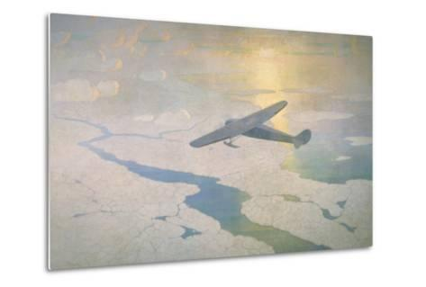 The Valiant Byrd Airplane Soars under the Glow of the Midnight Sun-Newell Convers Wyeth-Metal Print