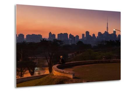 A Couple Watch the Sunset in Praca Do Por Do Sol, Sunset Square, in Sao Paulo-Alex Saberi-Metal Print
