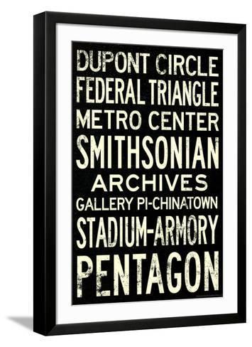 Washington DC Metro Stations Vintage Travel Poster--Framed Art Print