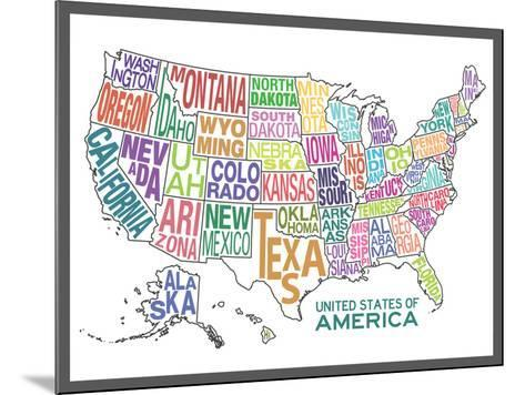 United States of America Stylized Text Map Colorful--Mounted Poster
