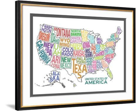 United States of America Stylized Text Map Colorful--Framed Art Print
