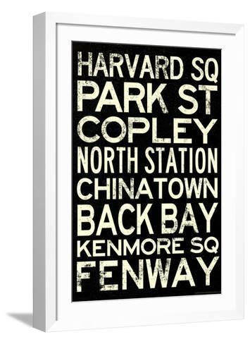 Boston MBTA Stations Vintage Subway Travel Poster--Framed Art Print