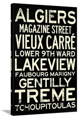 New Orleans Neighborhoods Vintage Subway Travel Poster--Stretched Canvas Print
