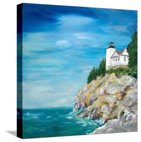Lighthouse on the Rocky Shore II-Julie DeRice-Stretched Canvas Print