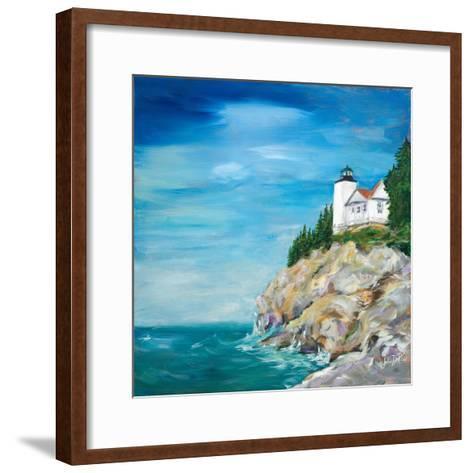 Lighthouse on the Rocky Shore II-Julie DeRice-Framed Art Print
