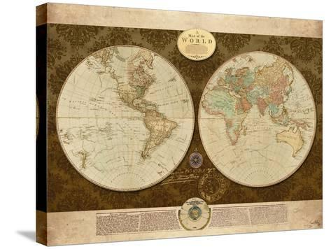 Map of World-Elizabeth Medley-Stretched Canvas Print