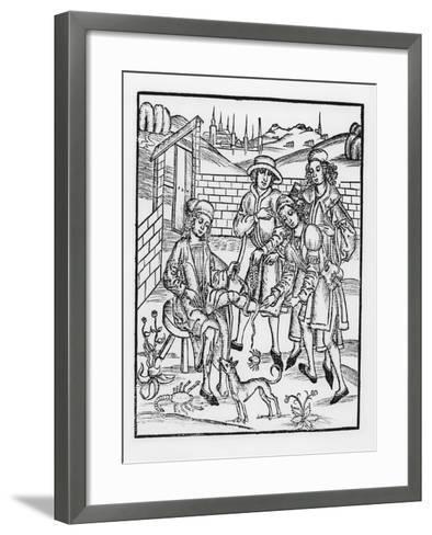 Tending a Snake Bite, from 'Das Buch Der Cirugia', 1497-Hieronymus Brunschwig-Framed Art Print