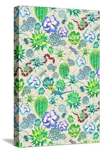 Les Jardins Majorelle - Succulents-Jacqueline Colley-Stretched Canvas Print