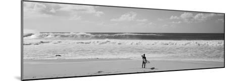 Surfer Standing on the Beach, North Shore, Oahu, Hawaii, USA--Mounted Photographic Print