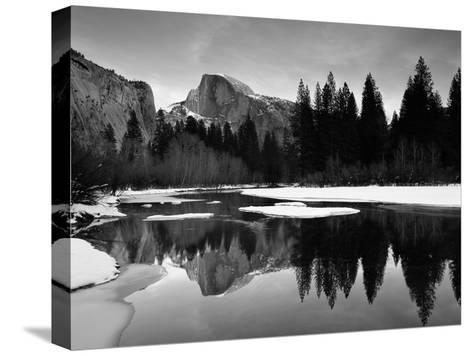 Half Dome Above River and Winter Snow, Yosemite National Park, California, USA-David Welling-Stretched Canvas Print