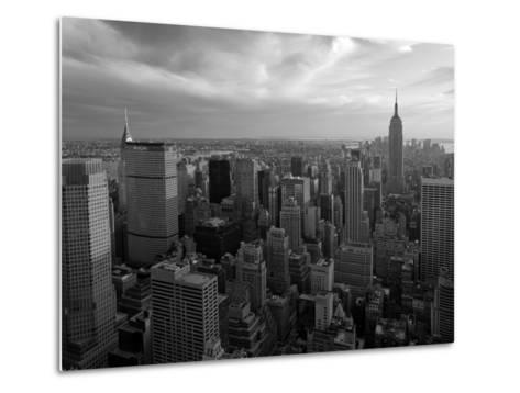 New York City, Manhattan, View of Downtown and Empire State Building from Rockerfeller Centre, USA-Gavin Hellier-Metal Print