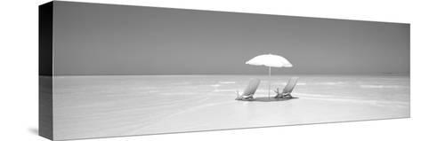 Beach, Ocean, Water, Parasol and Chairs, Maldives--Stretched Canvas Print