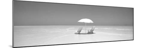 Beach, Ocean, Water, Parasol and Chairs, Maldives--Mounted Photographic Print