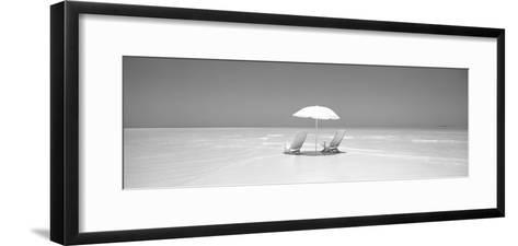 Beach, Ocean, Water, Parasol and Chairs, Maldives--Framed Art Print