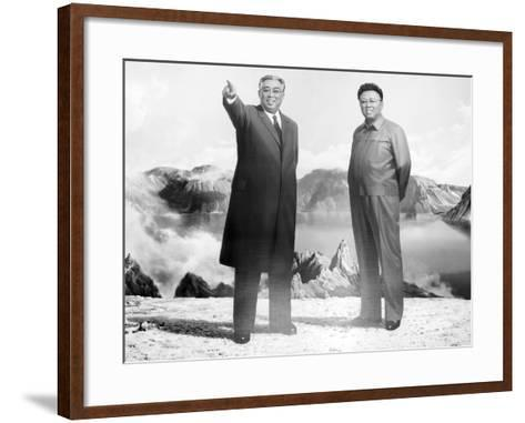 Painting of Kim Jong Il and Kim Il Sung, Pyongyang, Democratic People's Republic of Korea, N. Korea-Gavin Hellier-Framed Art Print