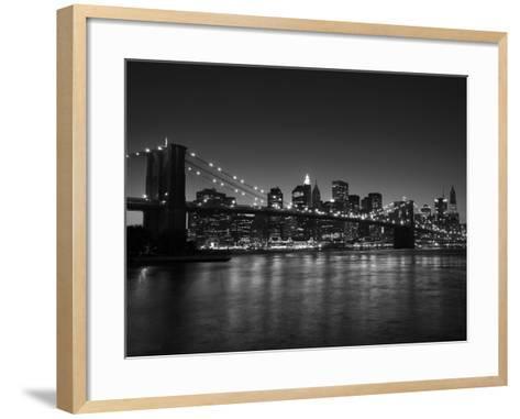 Manhattan Skyline and Brooklyn Bridge at Dusk, New York City, New York, USA-Amanda Hall-Framed Art Print