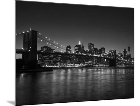 Manhattan Skyline and Brooklyn Bridge at Dusk, New York City, New York, USA-Amanda Hall-Mounted Photographic Print