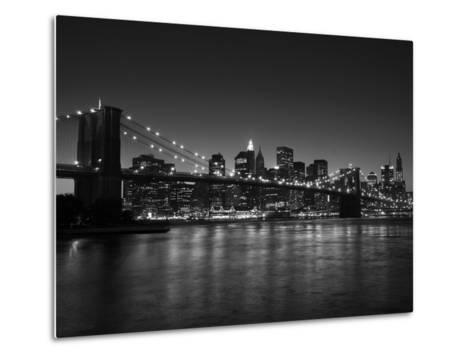 Manhattan Skyline and Brooklyn Bridge at Dusk, New York City, New York, USA-Amanda Hall-Metal Print