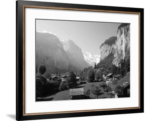 Lauterbrunnen and Staubbach Falls, Jungfrau Region, Swiss Alps, Switzerland, Europe-Roy Rainford-Framed Art Print