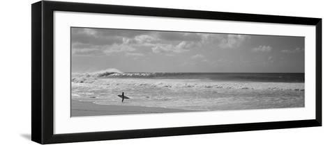 Surfer Standing on the Beach, North Shore, Oahu, Hawaii, USA--Framed Art Print